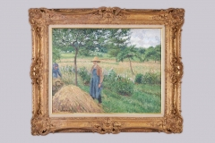 Camille-Pissarro-Gardener-standing-by-a-Haystack-overcast-sky-Eragny-1899